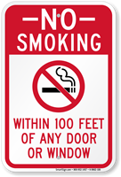 No Smoking Within 100 Feet Of Window Sign