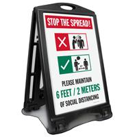 Please Maintain Social Distancing Sidewalk Sign