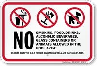No Smoking Food Drinks Alcoholic Beverages Florida Sign