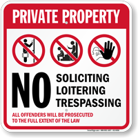 Private Property No Soliciting Trespassing Sign