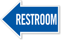 Restroom Die Cut Reflective Directional Sign
