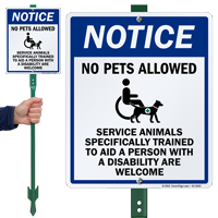No Pets Disability Trained Service Animals Welcome Sign