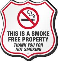 Smoke Free Property Thank You For Not Smoking Shield Sign