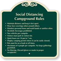Social Distancing Campground Rules Signature Sign