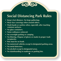 Social Distancing Park Rules Custom Signature Sign