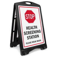 Stop Health Screening Station Wear Mask Sidewalk Sign