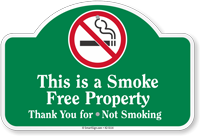 This Is A Smoke Free Property Dome Top Sign