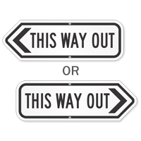 This Way Out Directional Sign