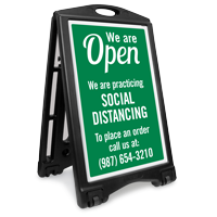 We Are Open Custom Social Distancing Sidewalk Sign
