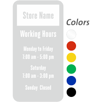 Custom Store Name and Working Hours, Single-Sided Label
