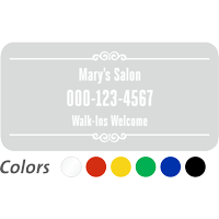Customizable Name and Number, Designer Single-Sided Label