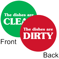 Dishes Dirty / Clean 2-Sided Magnetic Status Labels