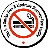 Smoke Electronic Cigarette Free Facility Label