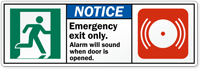 Emergency Exit Only, Alarm Will Sound Label