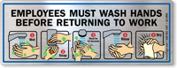 Employees Must Wash Hands Before Returning Mirror Decal