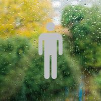 Man Symbol Glass Door Label