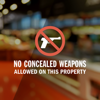 No Concealed Weapons Allowed Window Decal