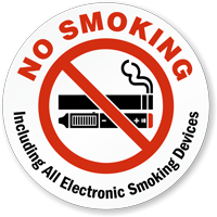No Smoking Including Electronic Smoking Devices Label