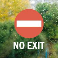 No Exit Die Cut Glass Door Label