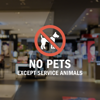 No Pets Except Service Animals Window Decal