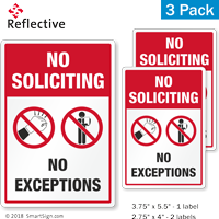 No Soliciting No Exceptions Label Set