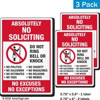 No Soliciting No Excuses No Exceptions Label Set