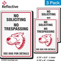No Soliciting No Trespassing Funny Dog Warning Label Set