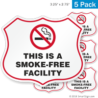 This Is A Smoke Free Facility No Smoking Shield Label Set