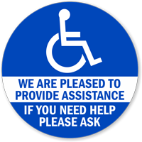 We Are Pleased To provide Assistance Window Decals