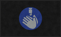 Sanitize Hands Graphic Message ColorStar Safety Mat