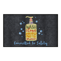 Wash Clean Sanitize Protect Committed to Safety Message Mat horizontal