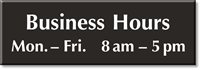 Business Hours Engraved Sign