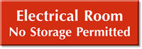 Electrical Room No Storage Permitted Select-a-Color Engraved Sign