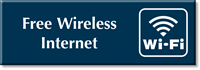 Free Wireless Internet Engraved Sign With Wi-Fi Symbol