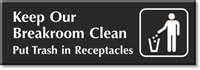Keep Breakroom Clean Engraved Door Sign with Graphic