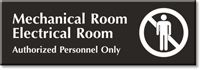 Mechanical, Electrical Room, Authorized Personnel Only Engraved Sign