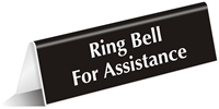 Ring Bell For Assistance OfficePal™ Tabletop Tent Sign