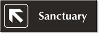 Sanctuary, with Top Left Arrow Engraved Door Sign