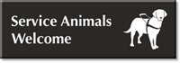 Service Animals Welcome Select-a-Color Engraved Sign