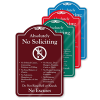 Absolutely No Soliciting ShowCase Sign
