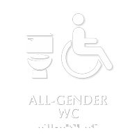 All-Gender Accessible WC TactileTouch Braille Restroom Sign