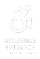 Accessible Entrance with Modified Symbol Braille Sign