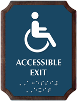 Accessible Exit Braille TactileTouch Wood Plaque