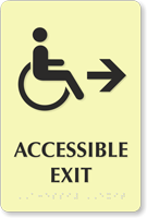 Accessible Exit TactileTouch Braille Arrow Sign