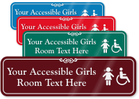 Accessible Girls Room Symbol Sign