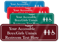 Accessible Boys/Girls Unisex Restroom Symbol Sign