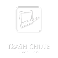 TactileTouch™ Trash Chute Symbol Sign with Braille