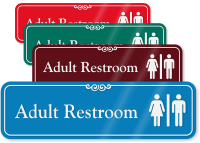 Adult Restroom with Graphic ShowCase™ Sign