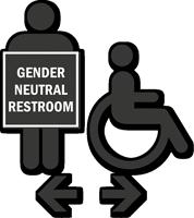 Handicap Gender Neutral Restroom Die Cut Sign Kit