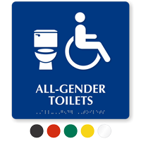 All-Gender Accessible Toilets Sintra Sign With Braille